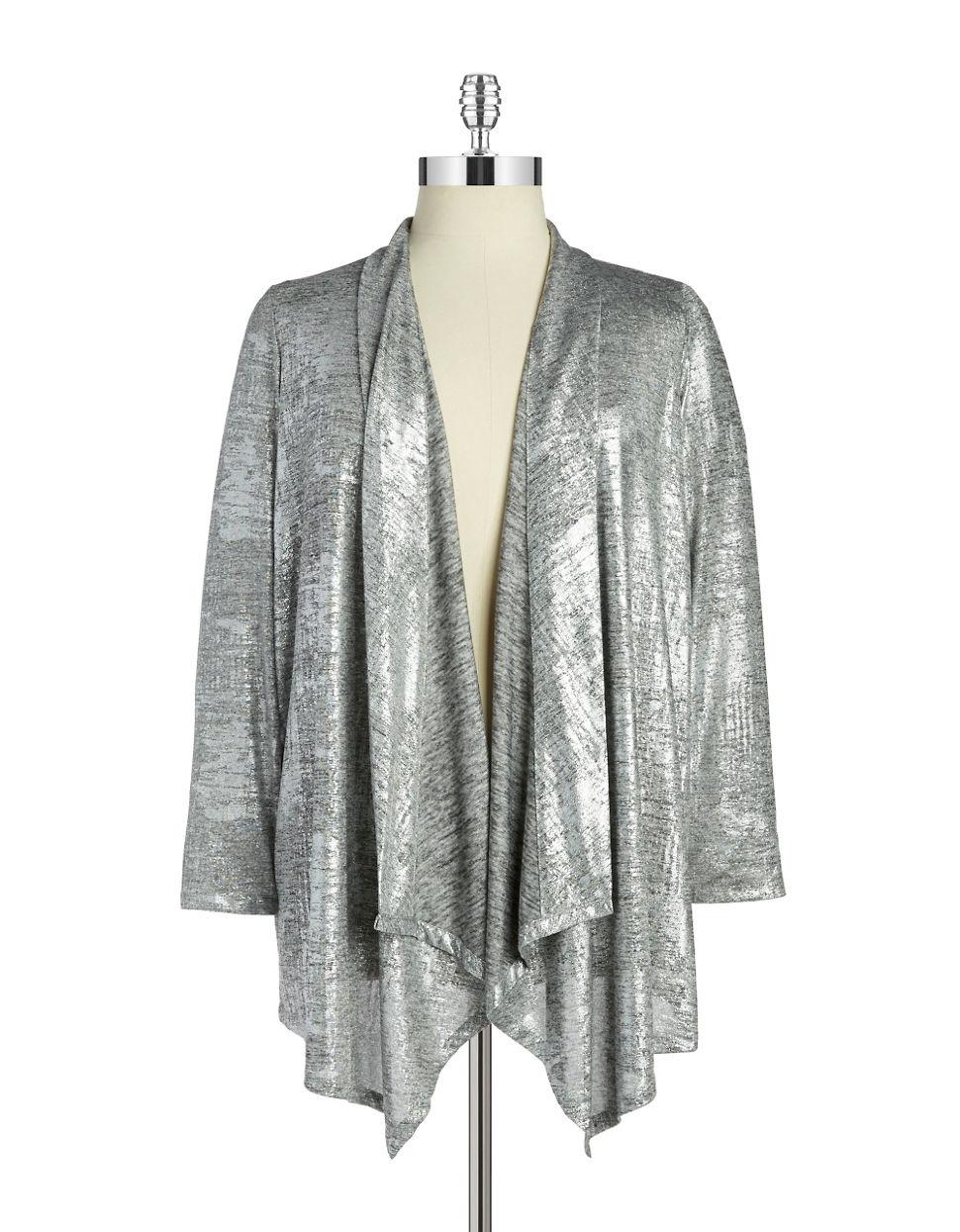 Calvin klein Plus Open-front Knit Cardigan in Metallic | Lyst