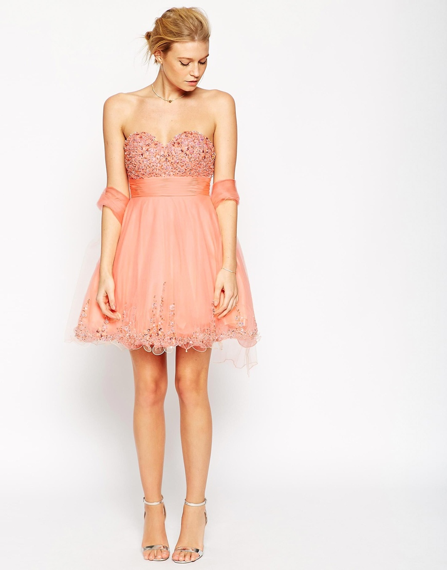 Lyst forever unique amelia embellished bandeau dress in orange gallery ombrellifo Image collections