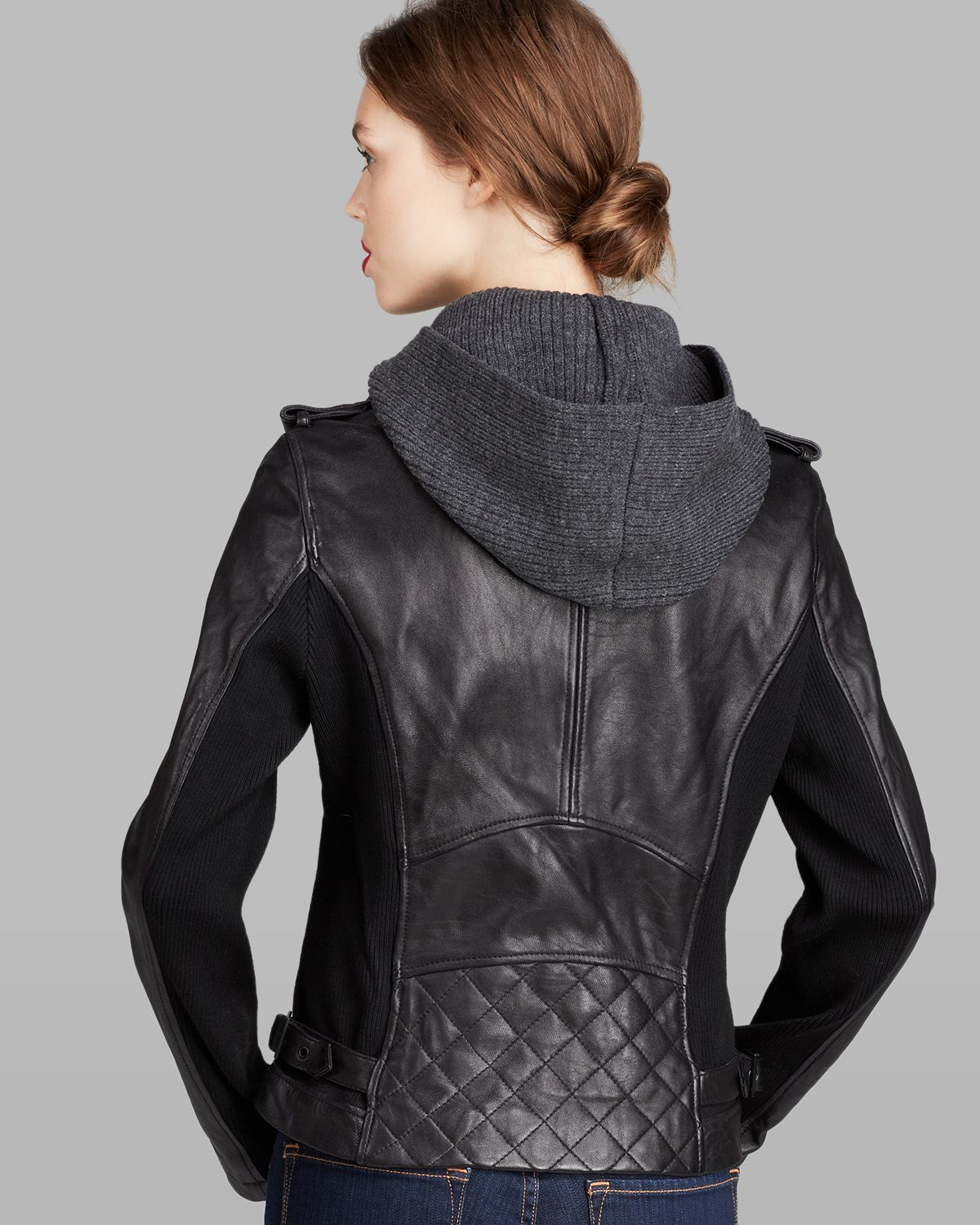 Lyst - Dkny Jacket - Knit Hood Leather Moto in Black
