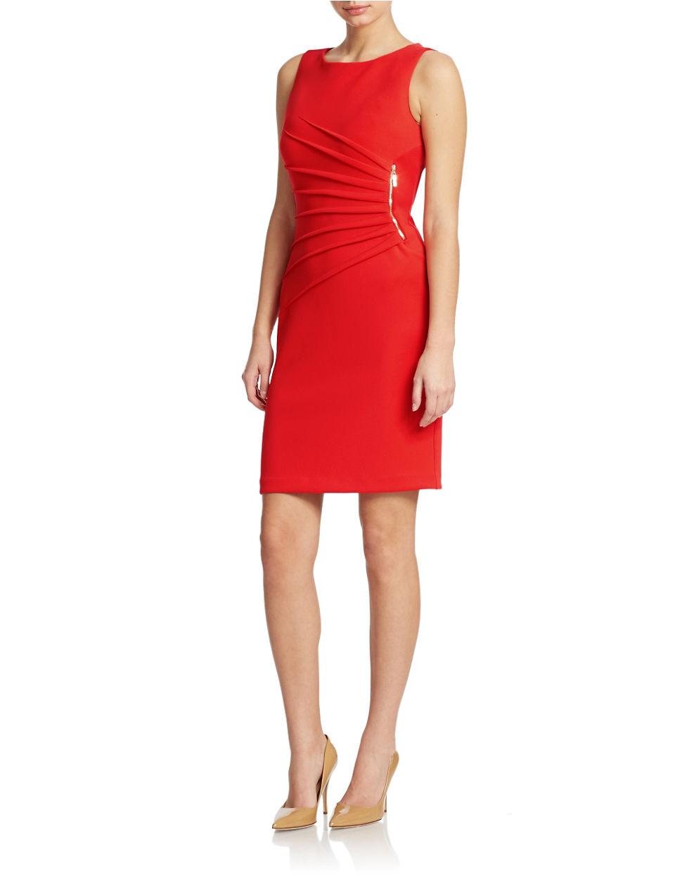 Ivanka trump starburst zip trim dress in red lyst