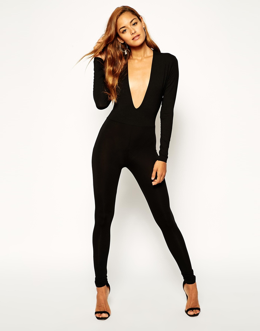 5e87068d61d Lyst - ASOS Body Fit Jumpsuit With Deep Plunge in Black