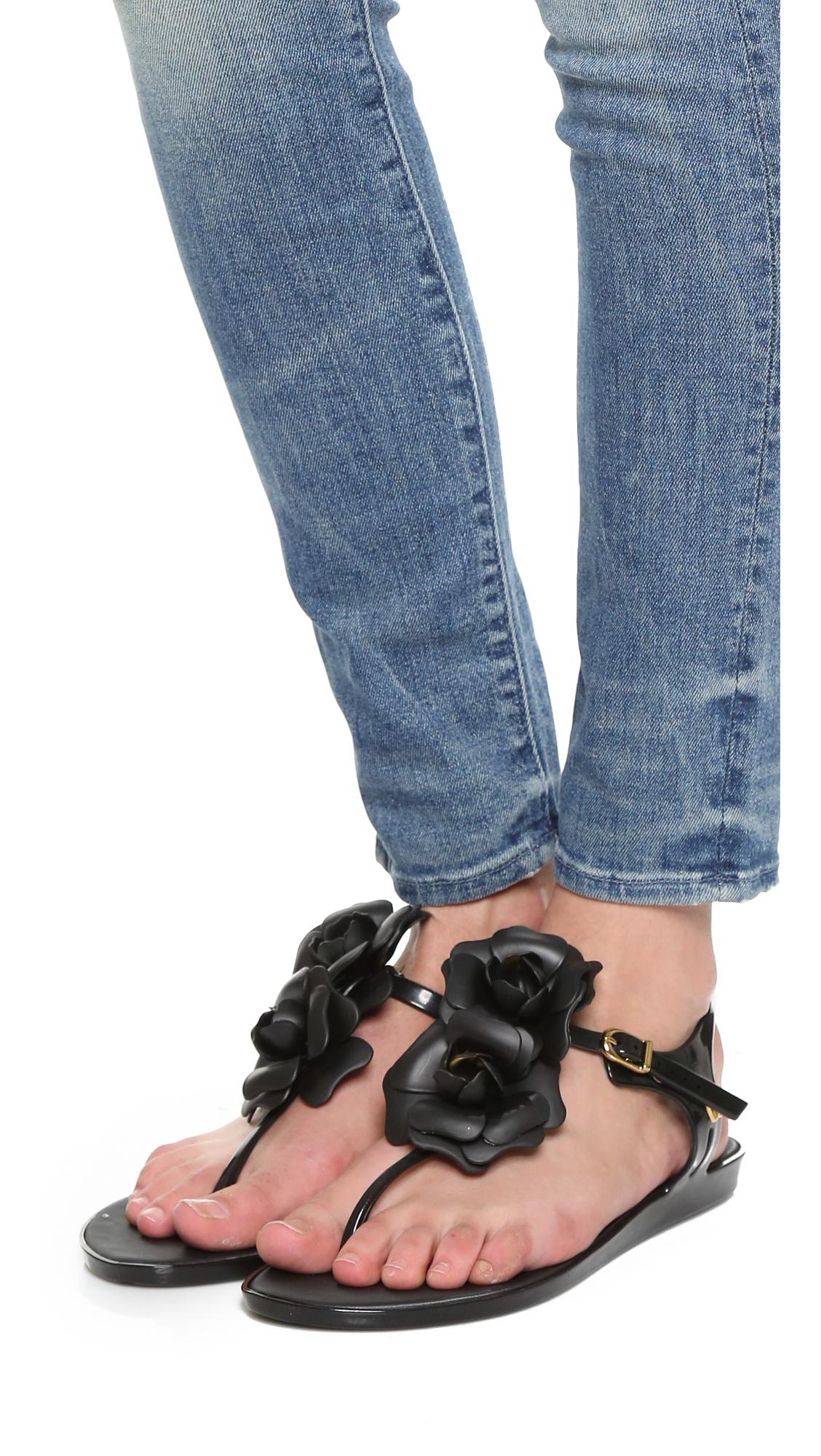 35c8a129d12168 Melissa Solar Garden Sandals in Black - Lyst