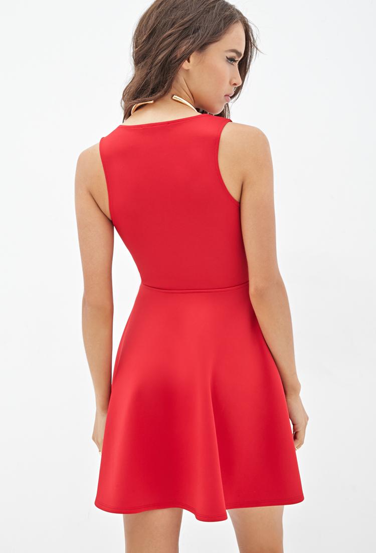 Lyst Forever 21 V Neck Fit Amp Flare Dress In Red