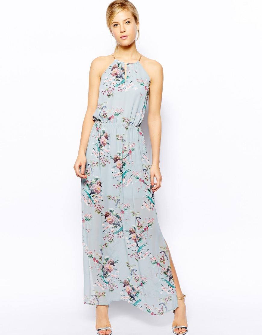 Oasis Floral Print Maxi Dress in Blue | Lyst