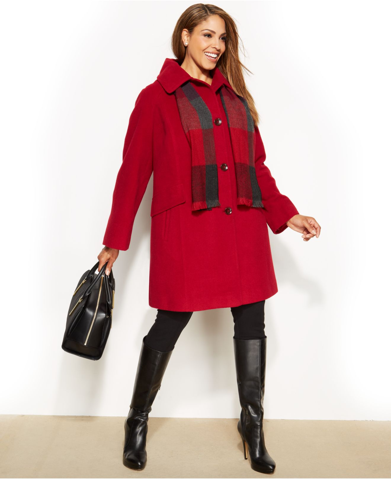 11aa7848e9b Lyst - London Fog Plus Size Single-Breasted Wool-Blend Peacoat With ...