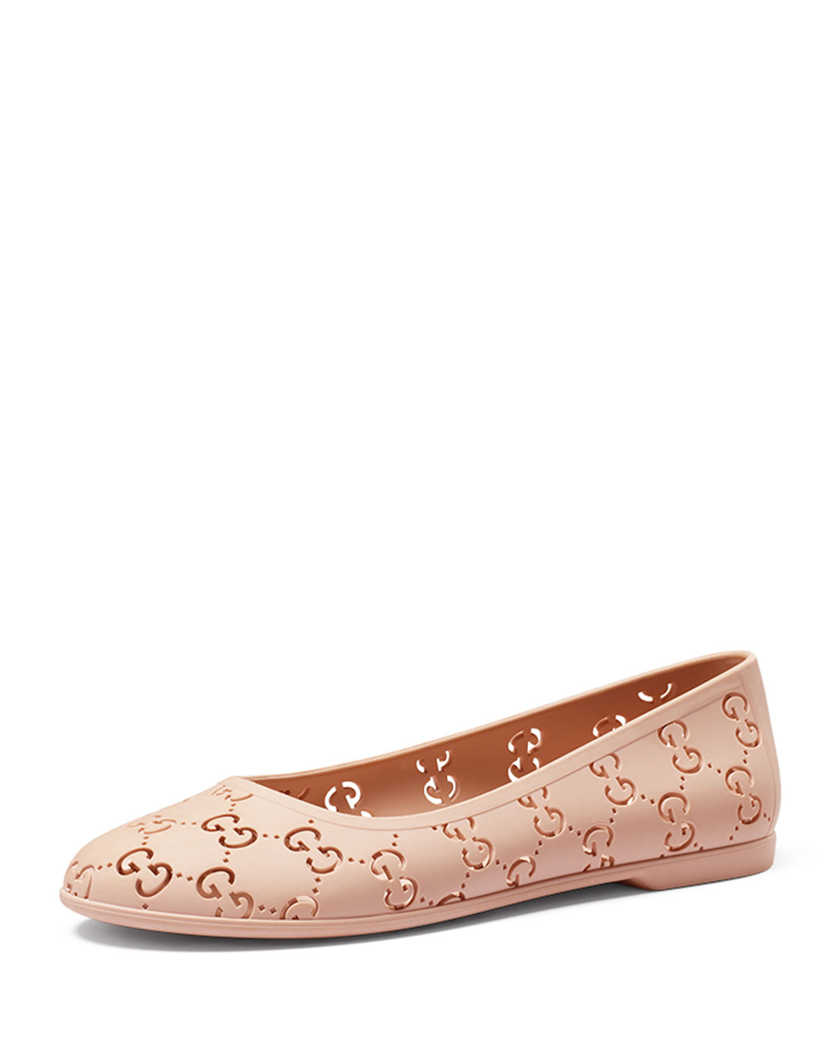76616f230cc5 Lyst - Gucci Gg Jelly Ballet Flats in Pink