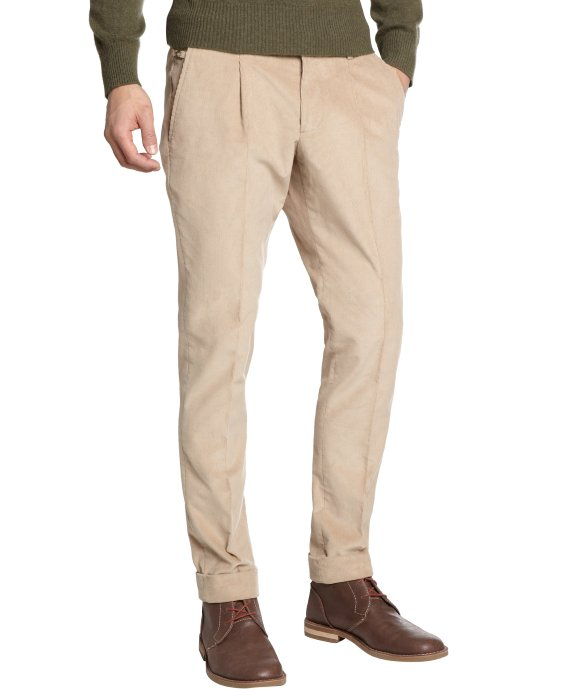 Gucci Tan Cotton Corduroy Cuffed Pleated Front Pants in Natural ...