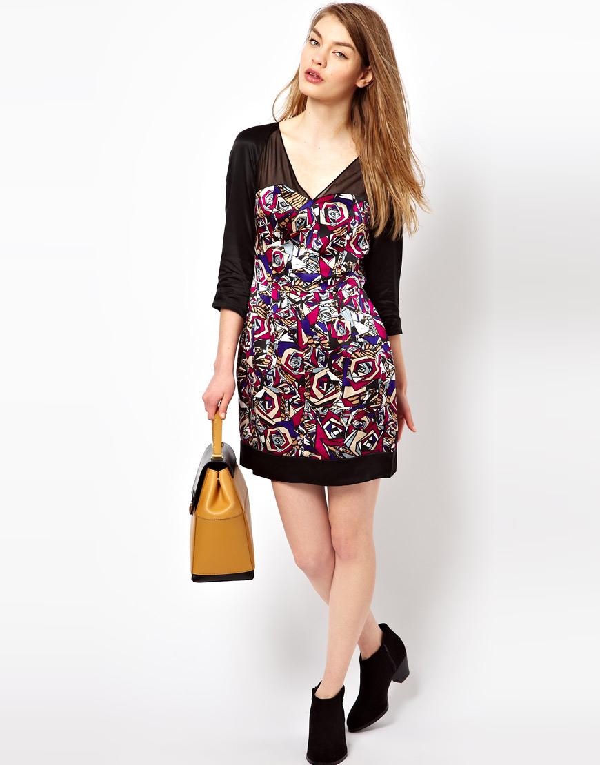 Lyst - Olivia Rubin Silk Rose Print Dress 90c5097fb