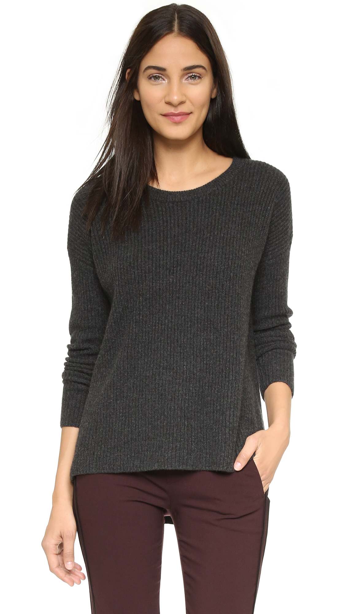 Vince Ribbed Cashmere Sweater - Wisteria in Black | Lyst