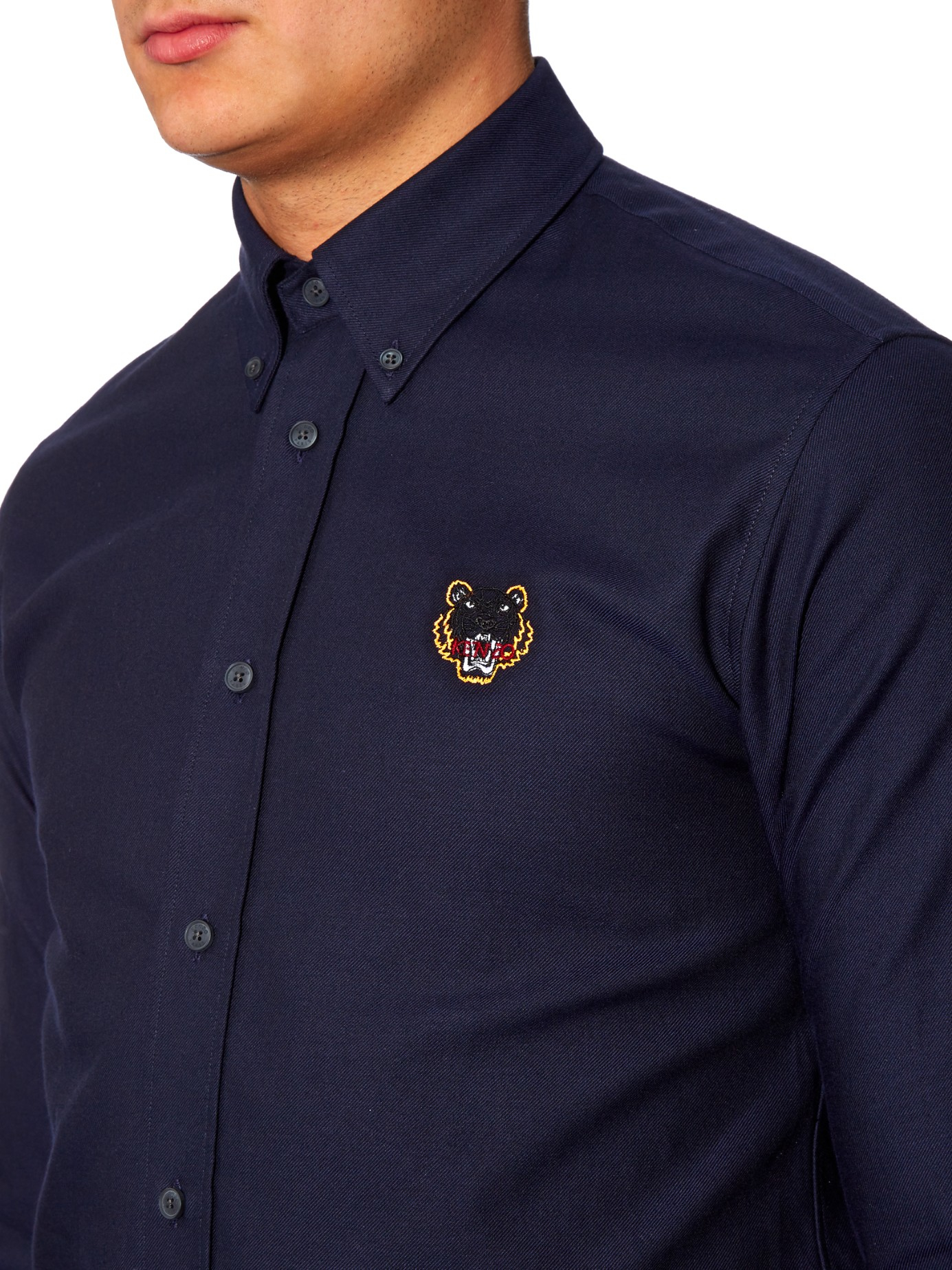 Kenzo tiger patch embroidered cotton shirt in blue for men