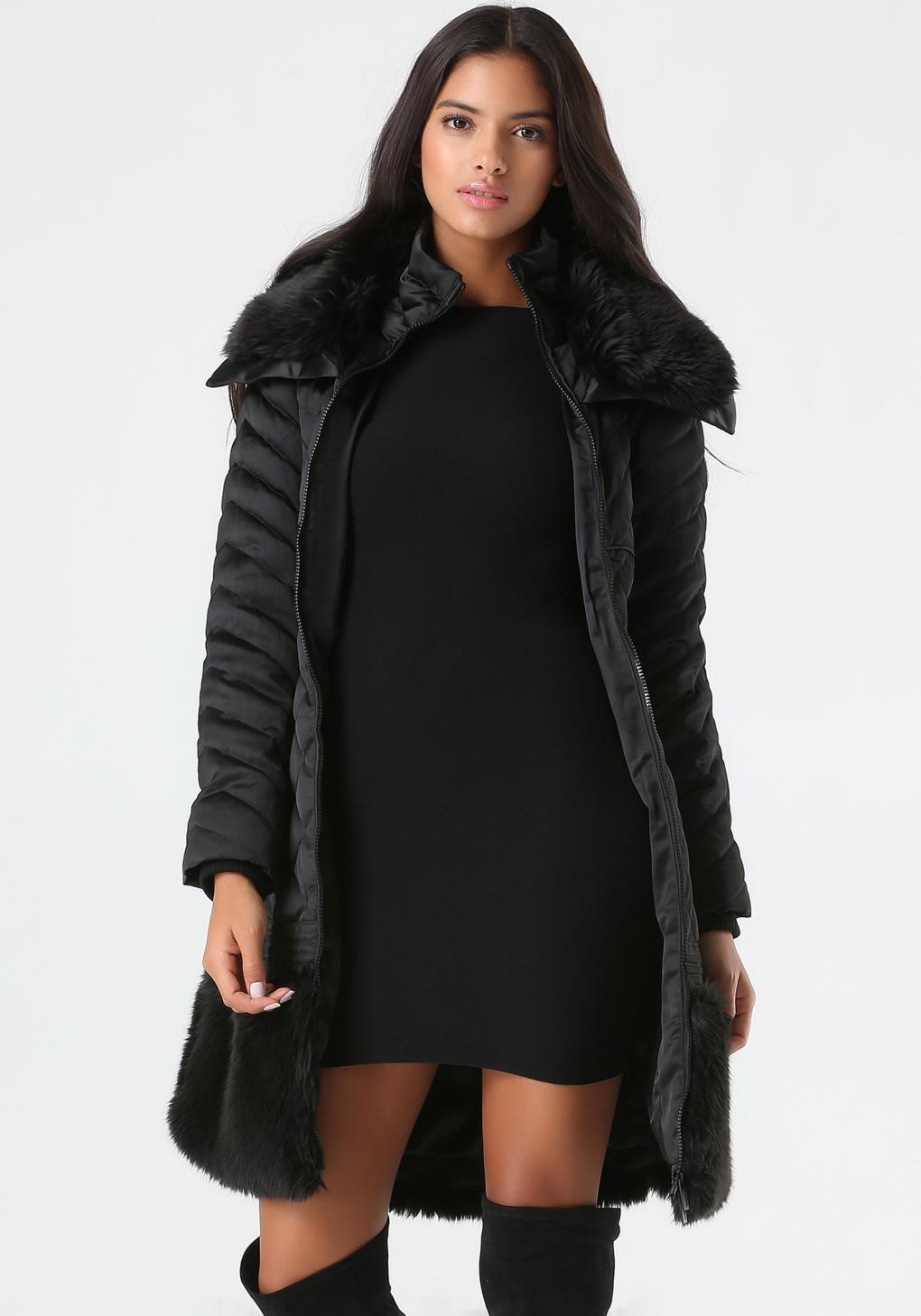 Lyst Bebe Faux Fur Belted Puffer Coat In Black