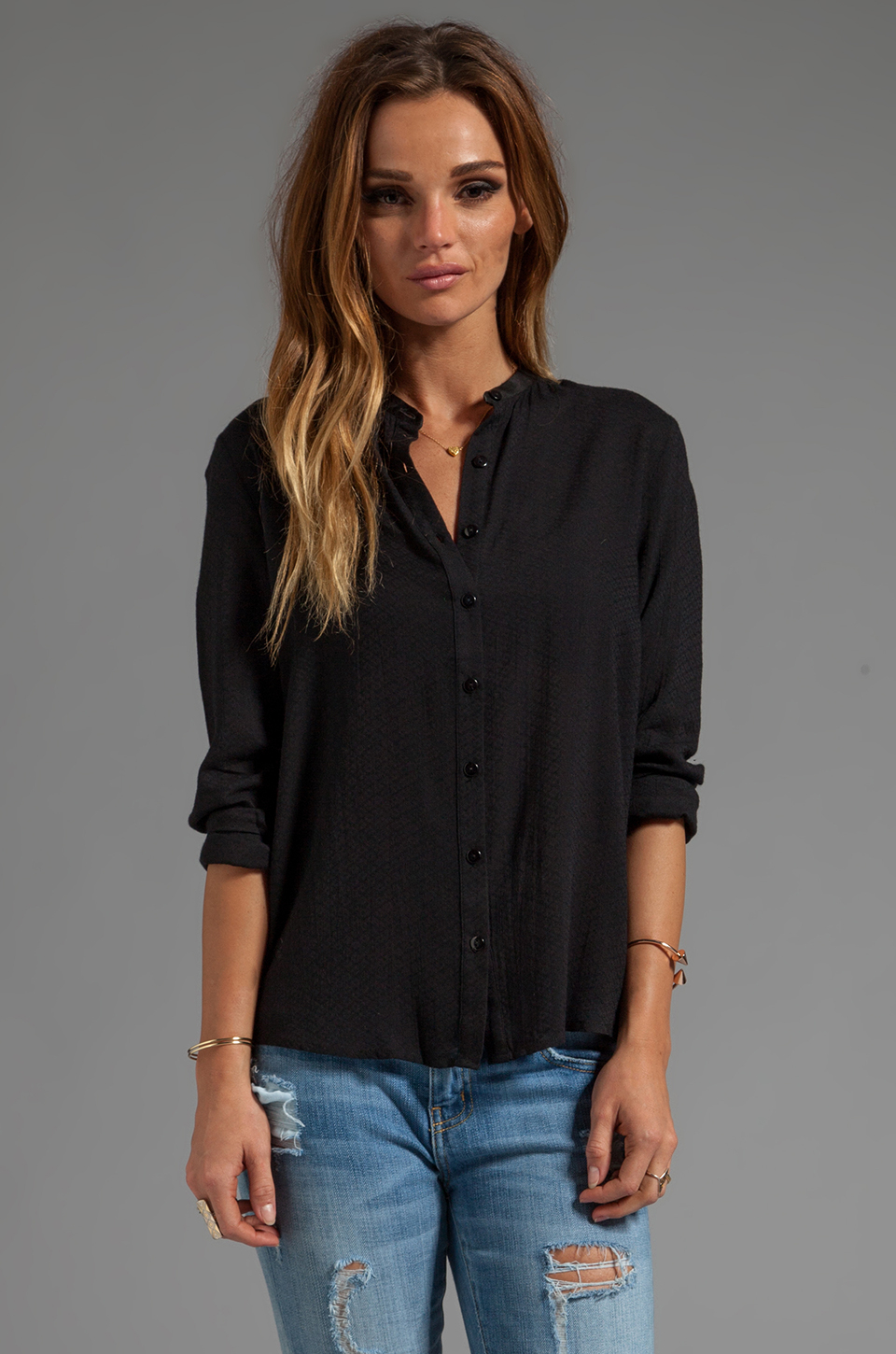 Neuw Salome Button Up Blouse in Black in Black | Lyst