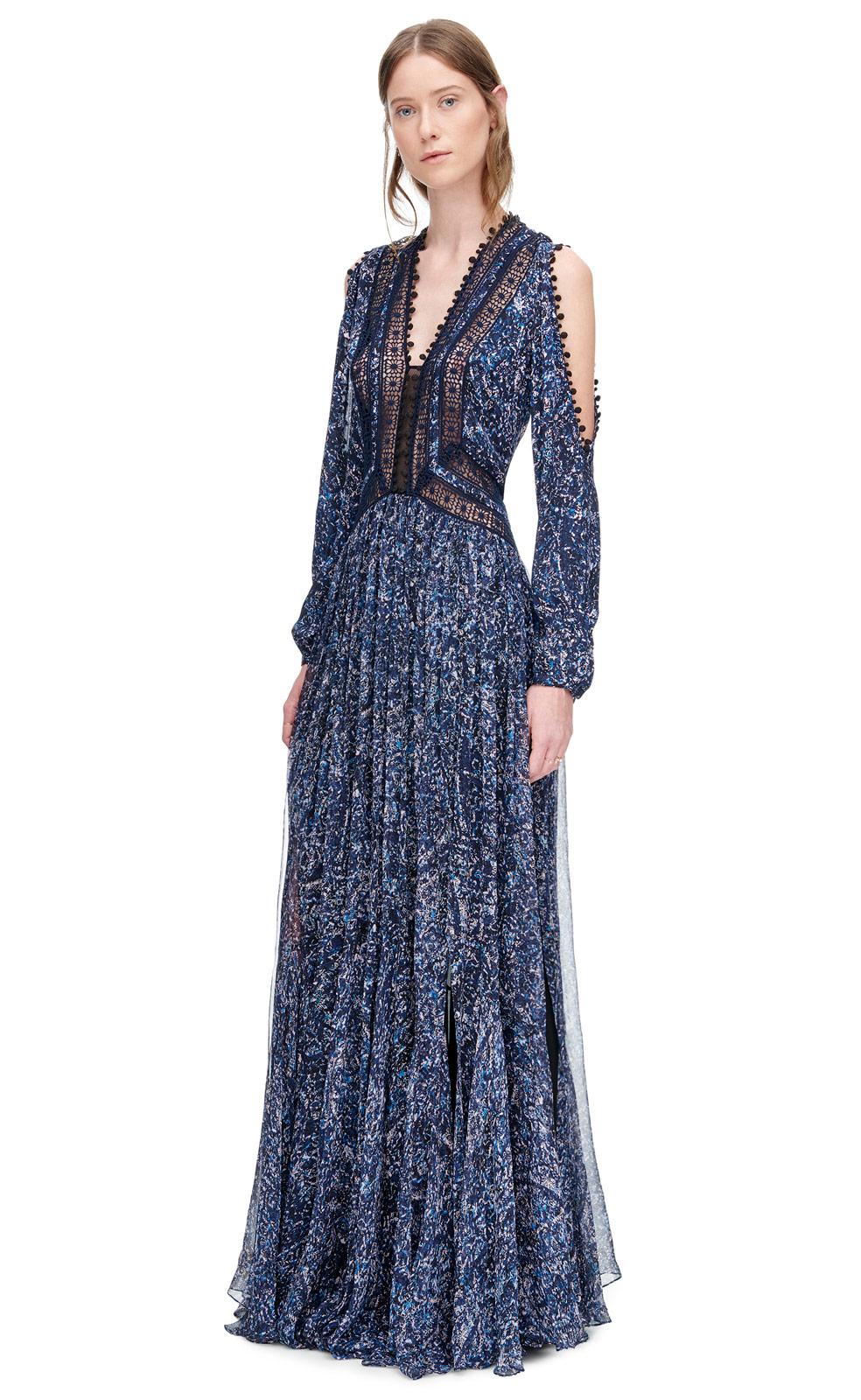 Rebecca taylor Block Print Maxi Dress in Blue - Lyst