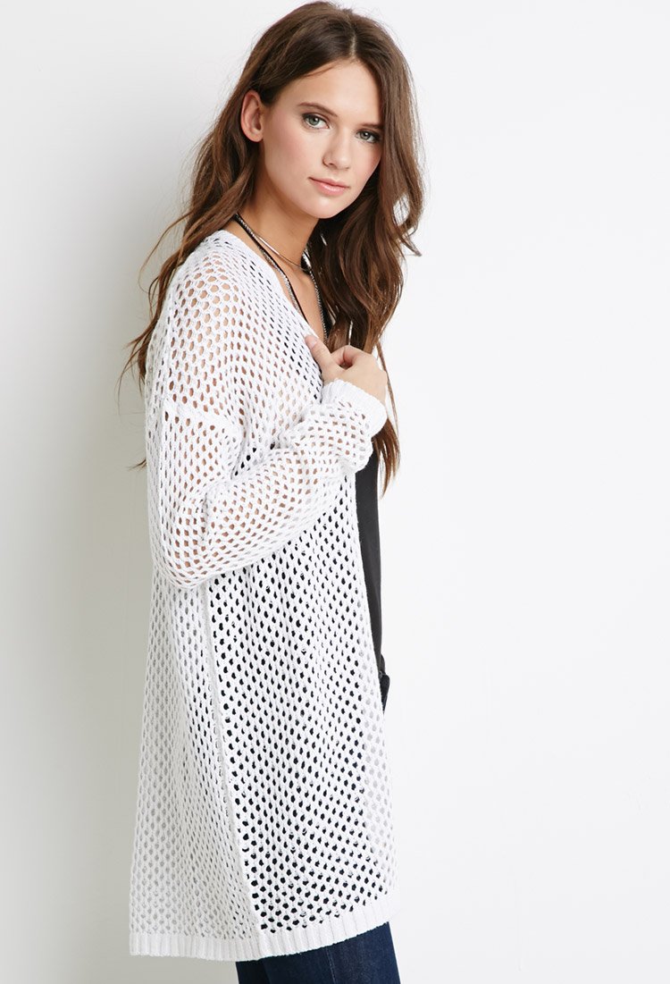 Lyst Forever 21 Open Knit Longline Cardigan In White