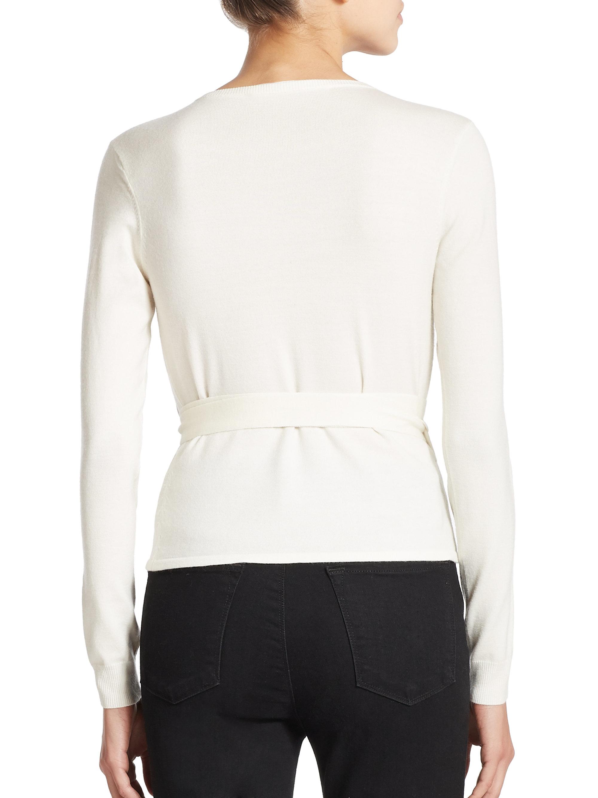 Diane von furstenberg Lace-detail Ballerina Wrap Sweater in White ...