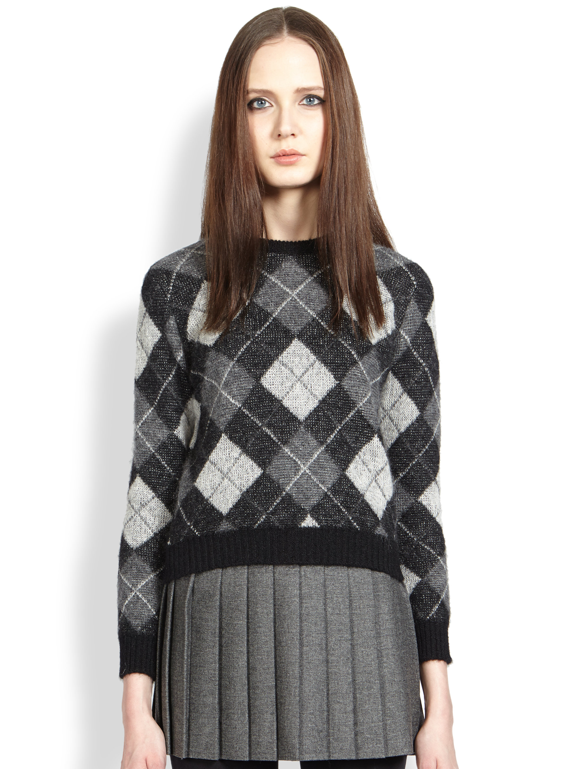 Saint laurent Argyle Sweater | Lyst
