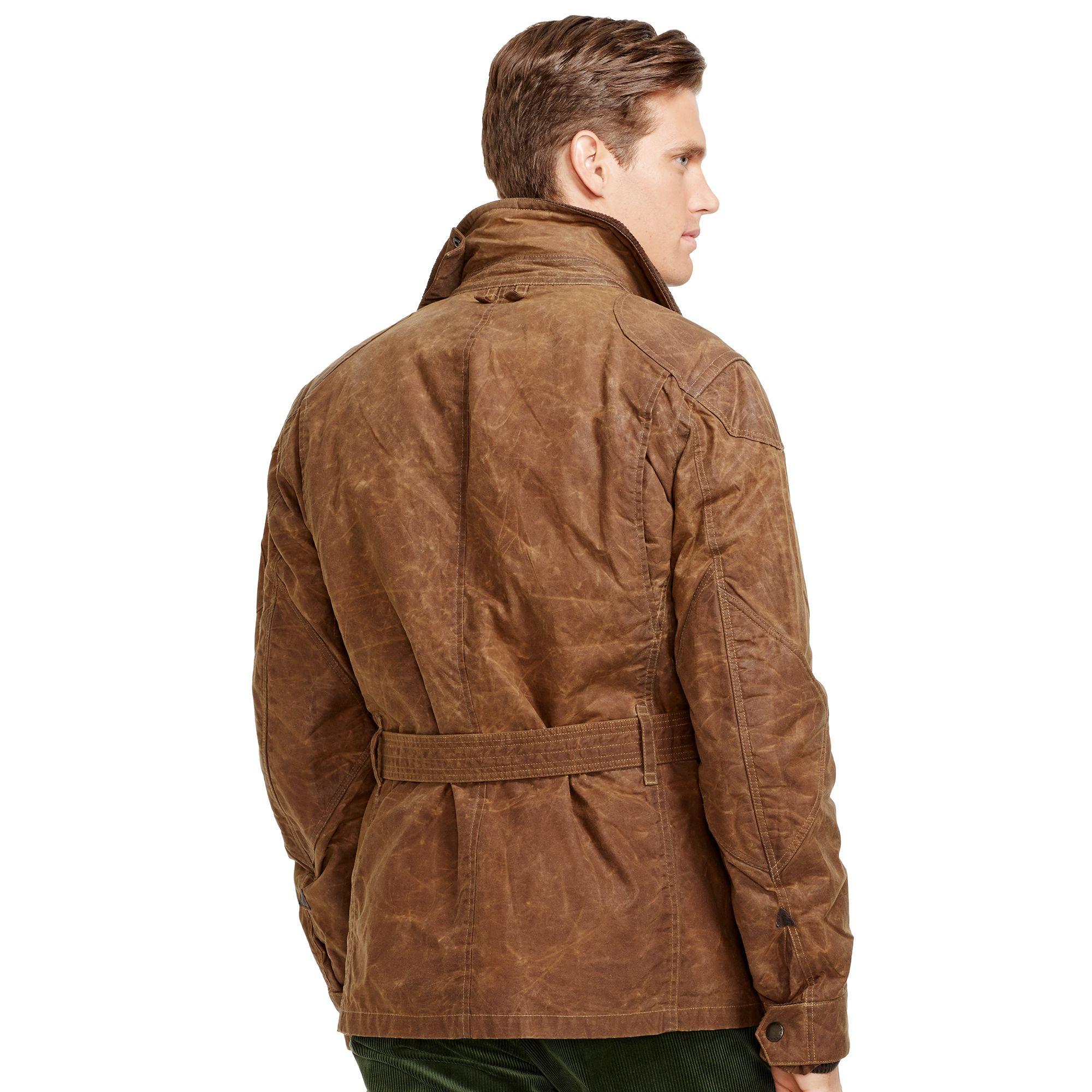 lyst polo ralph lauren belted oilcloth jacket in brown. Black Bedroom Furniture Sets. Home Design Ideas