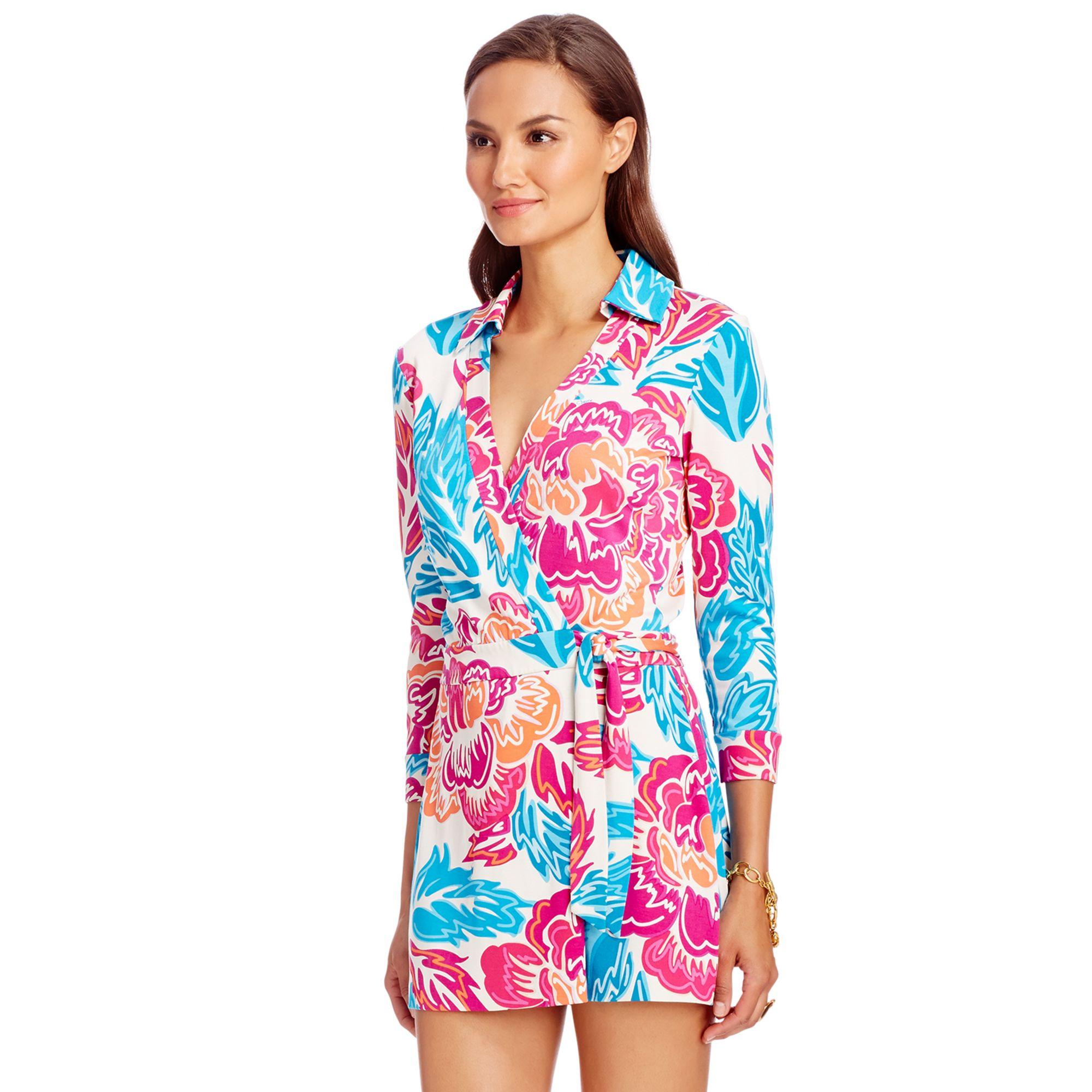 Celeste Floral-print Silk-jersey Wrap Playsuit - Black Diane Von F gp7i1pMcu