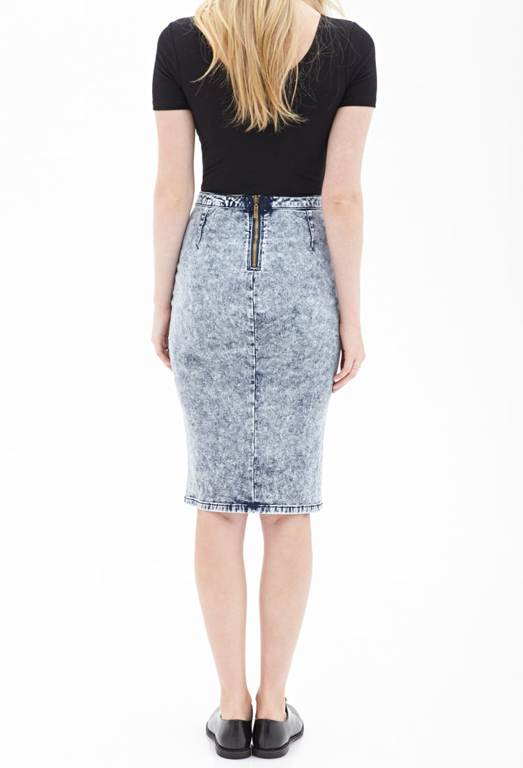 forever 21 bleached denim pencil skirt in blue lyst