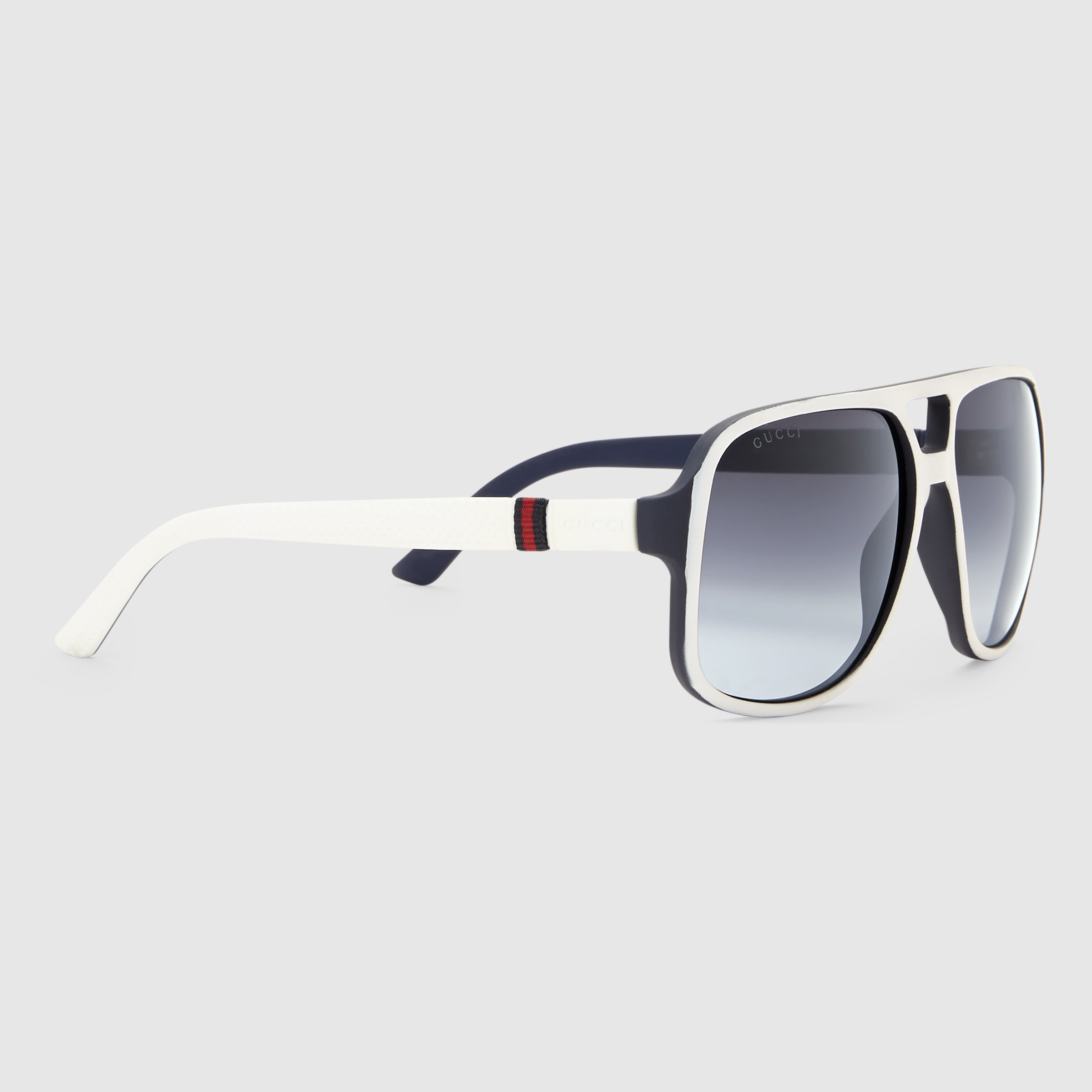 Lyst - Gucci Rectangular Frame Sunglasses With Web in White for Men