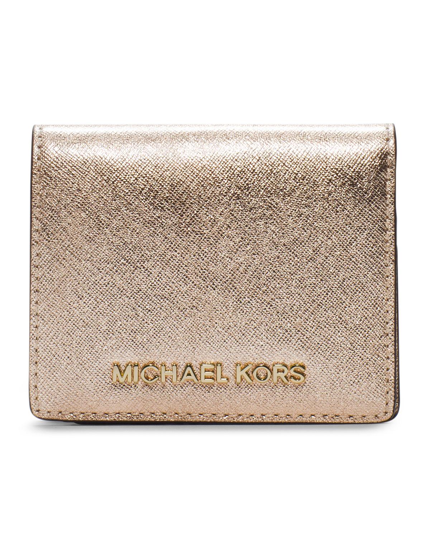 3afc828311e14 Lyst Michael Kors Jet Set Travel Flap Card Holder In Metallic