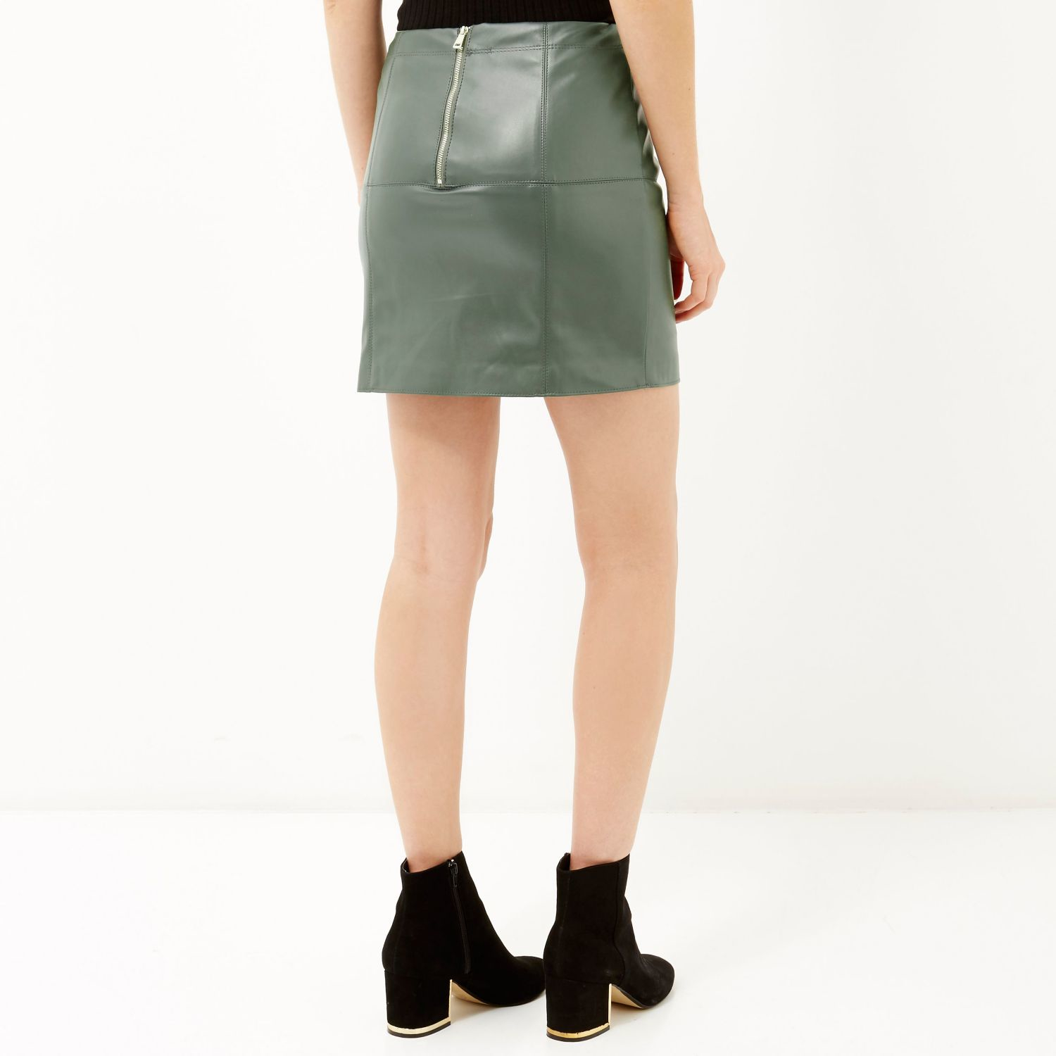 Green Leather Mini Skirt - Skirts