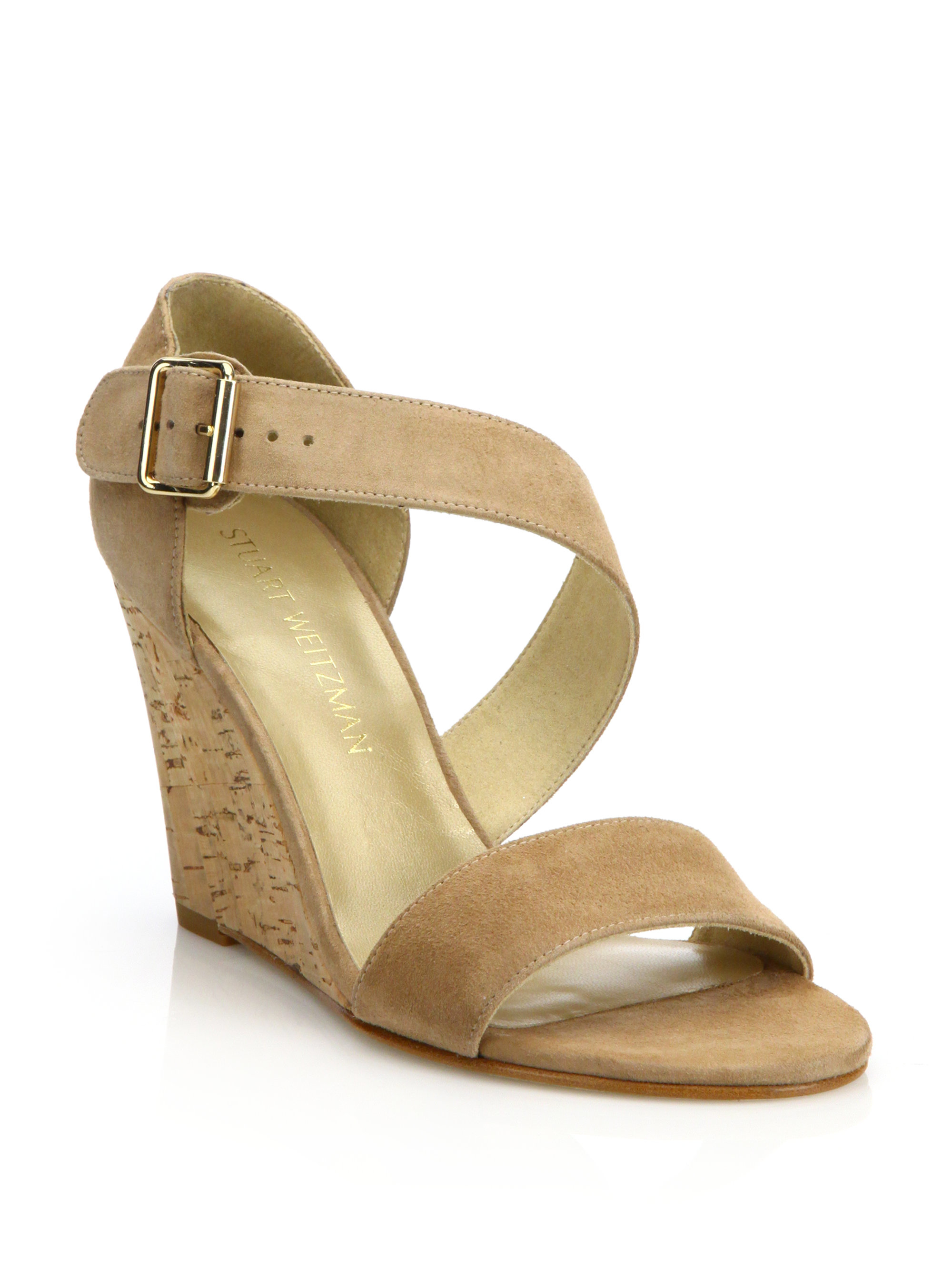 Lyst Stuart Weitzman Lineone Suede Cork Wedge Sandals In