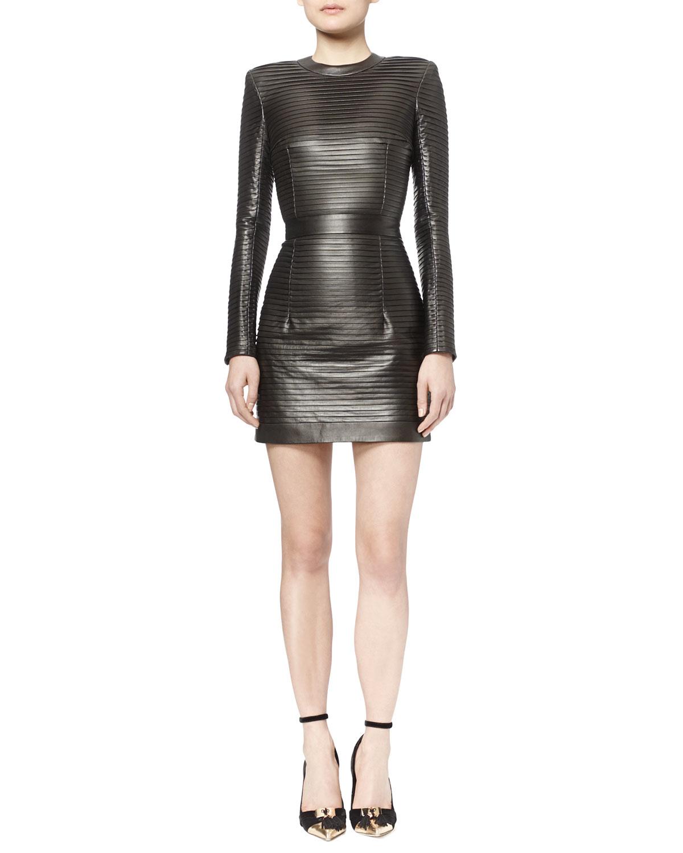 1b34ff6e Lyst - Balmain Crystal-pleated Leather Mini Dress in Metallic