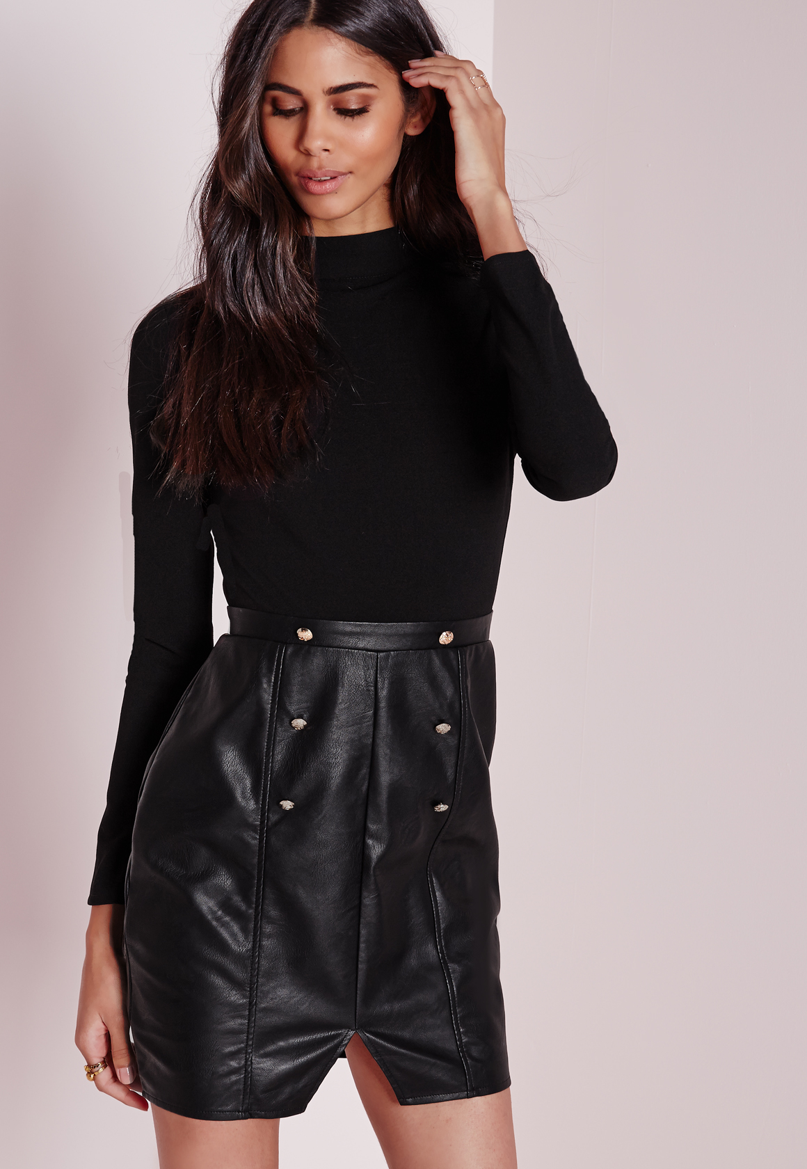missguided sleeve high neck top with faux