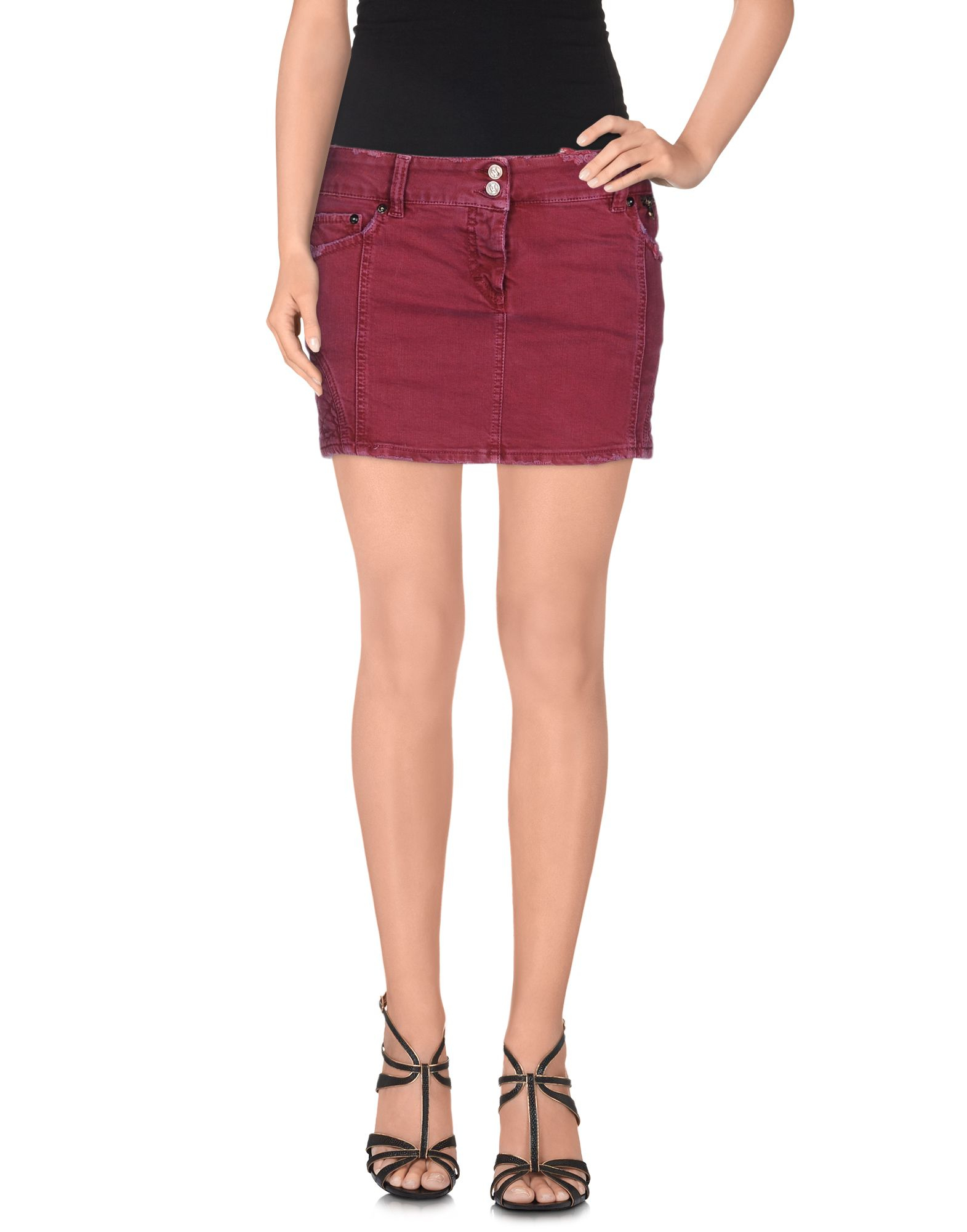 John galliano Denim Skirt in Purple | Lyst