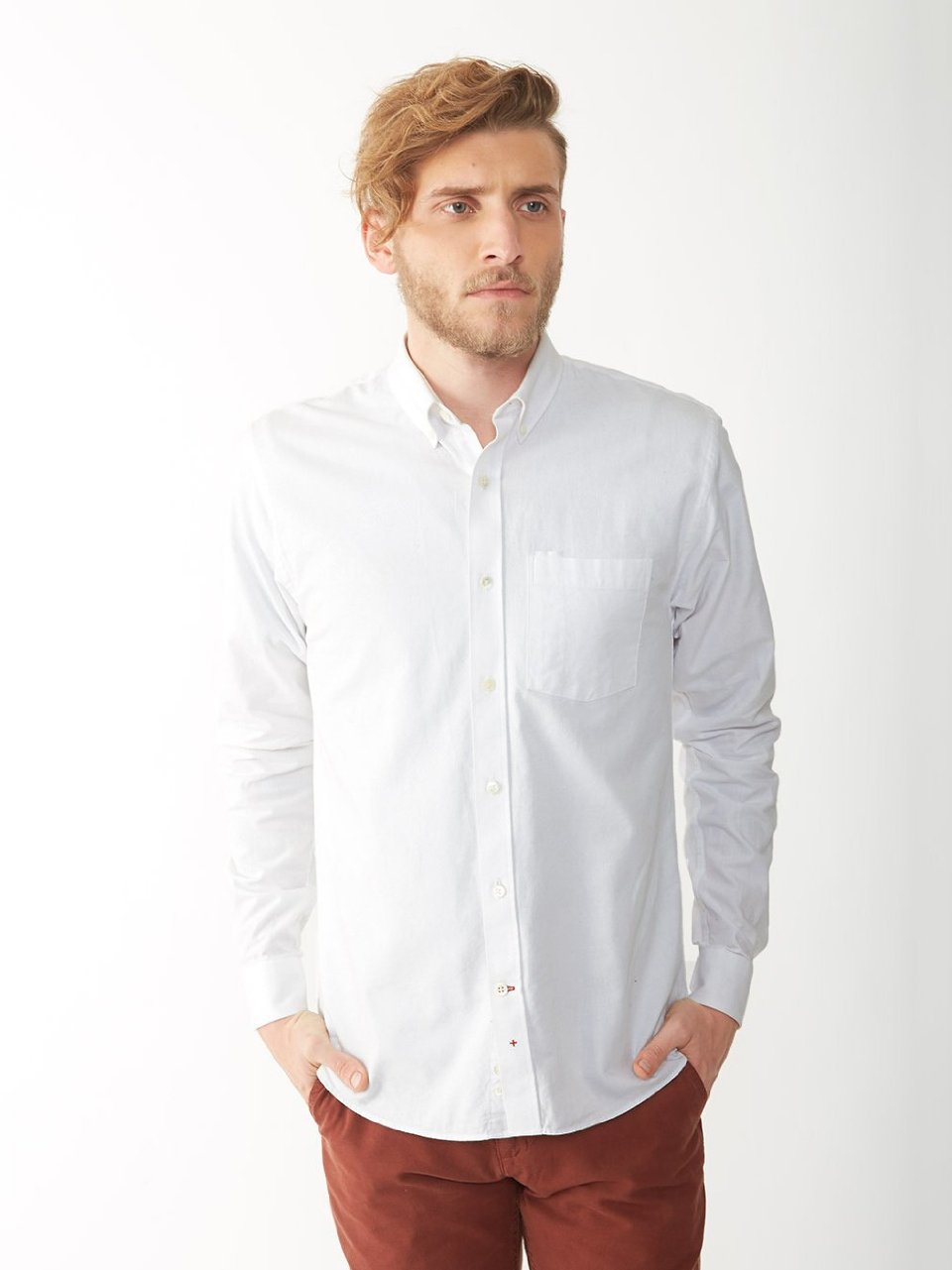 Alternative apparel oxford button down shirt in white for for Oxford long sleeve button down shirt