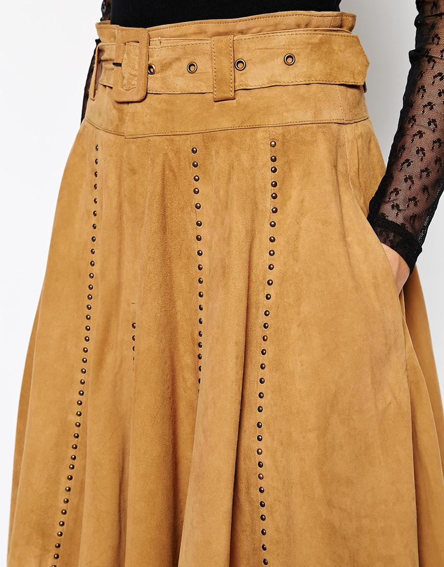 34d6e9c304b4 Ganni Ingrid Suede Belted Midi Skirt in Brown - Lyst