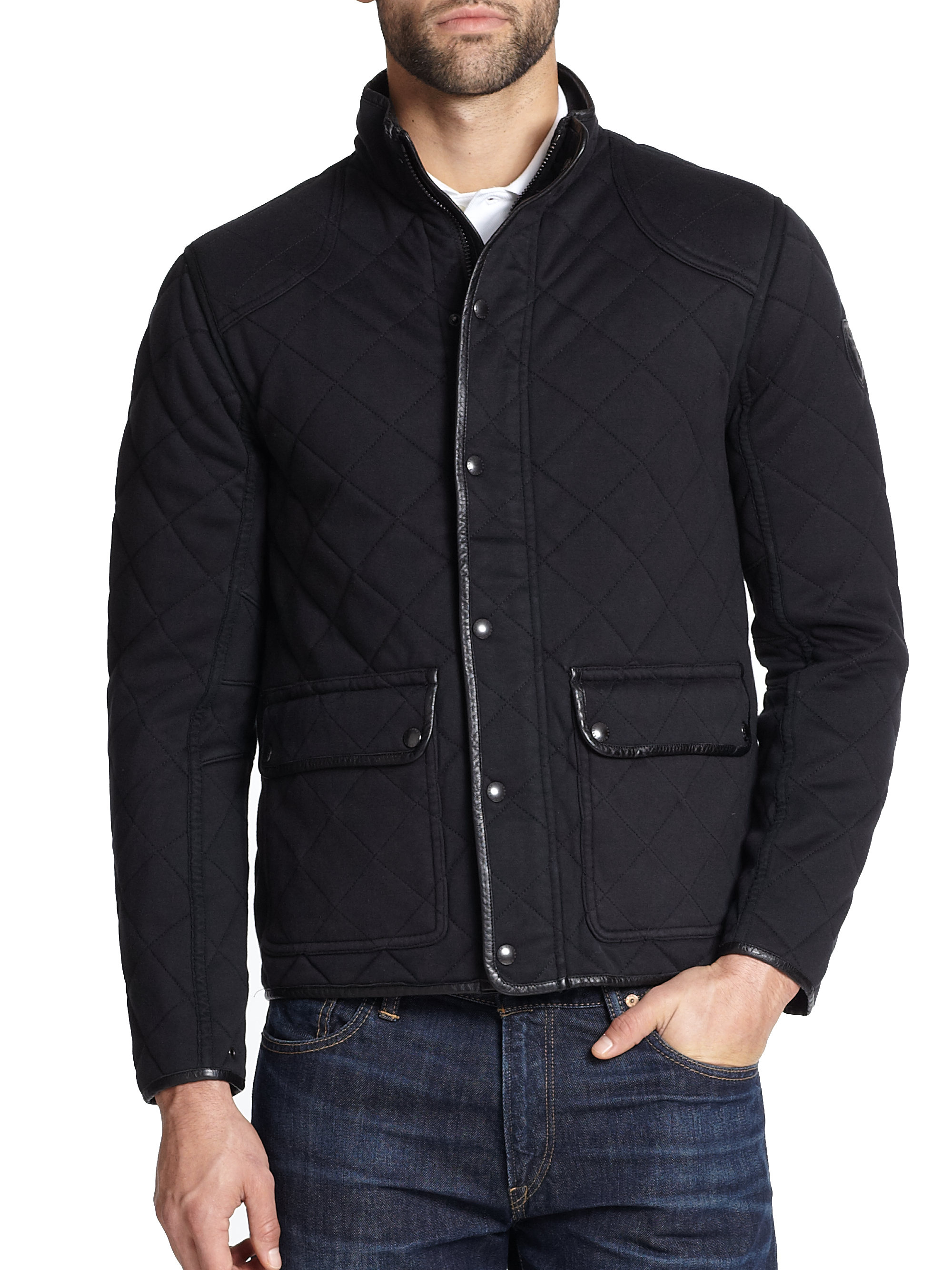 Mens jacket cotton - Polo Ralph Lauren Quilted Pima Cotton Jacket In Black For Men Lyst