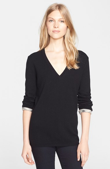 Burberry brit Check Cuff Cashmere & Cotton V-neck Sweater in Black ...