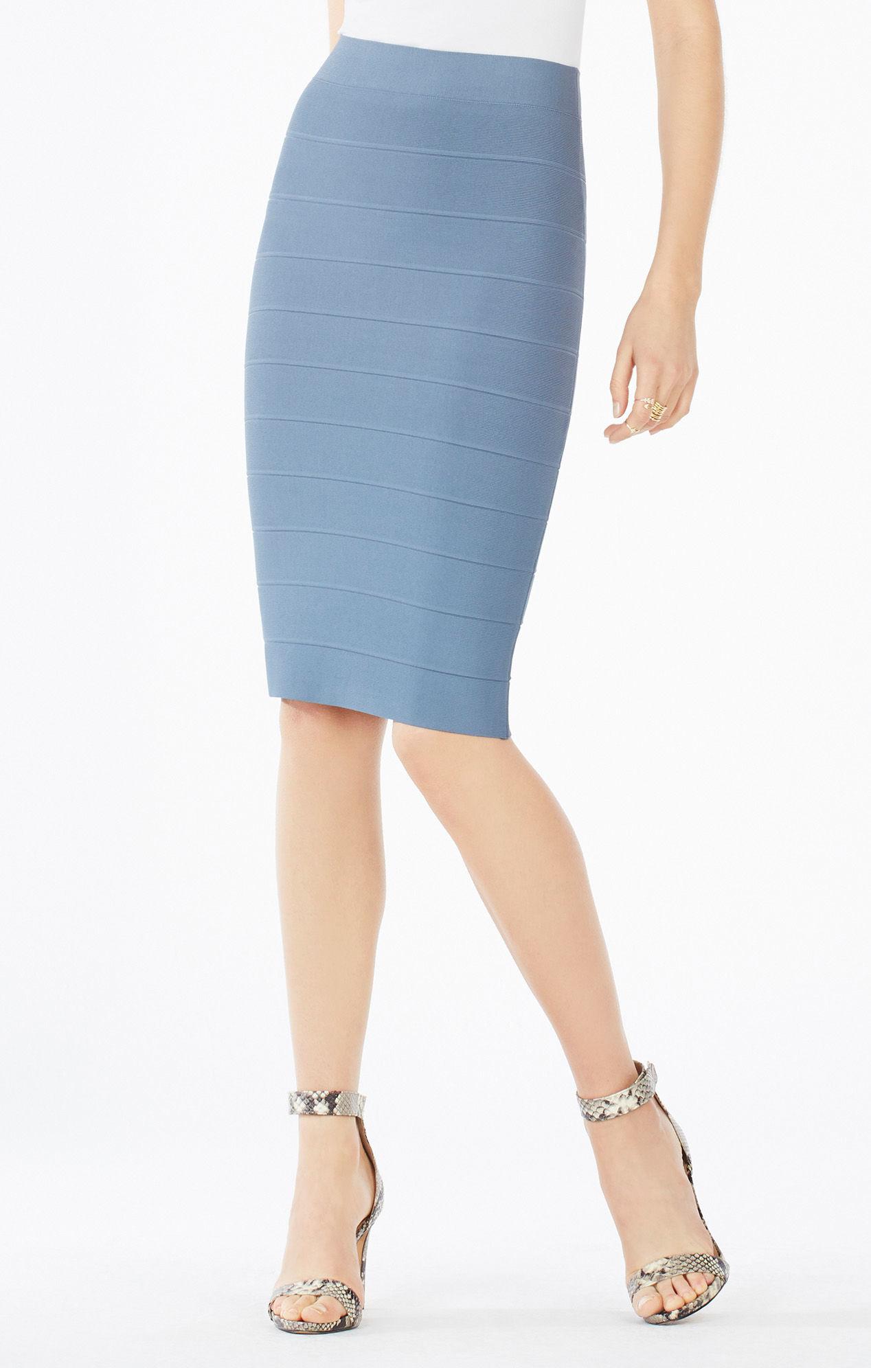 Bcbgmaxazria Pencil Skirt in Blue | Lyst