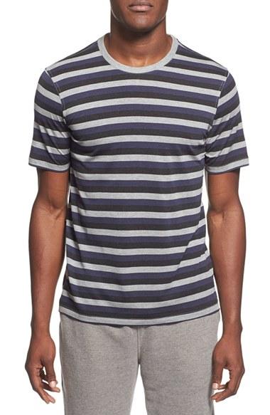 Daniel buchler stripe silk cotton crewneck t shirt in for Cotton silk tee shirts