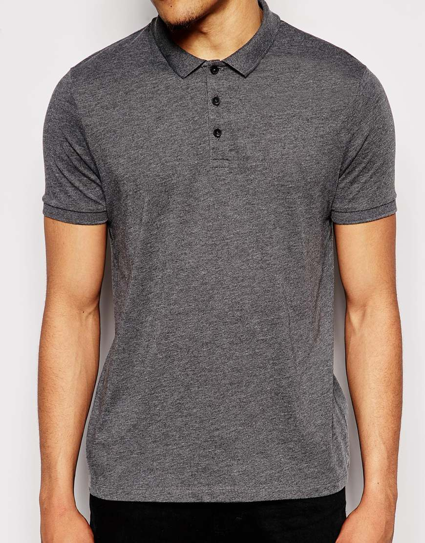 Lyst Asos Polo Shirt In Jersey In Gray For Men
