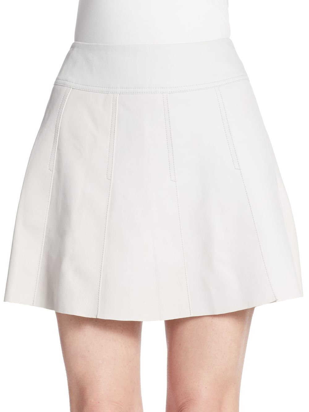 vince pleated leather skirt in white lyst