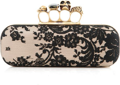 alexander mcqueen knuckle duster box clutch in beige. Black Bedroom Furniture Sets. Home Design Ideas