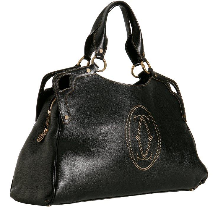 Cartier Black Leather Marcello Large Handbag RRTNXvP