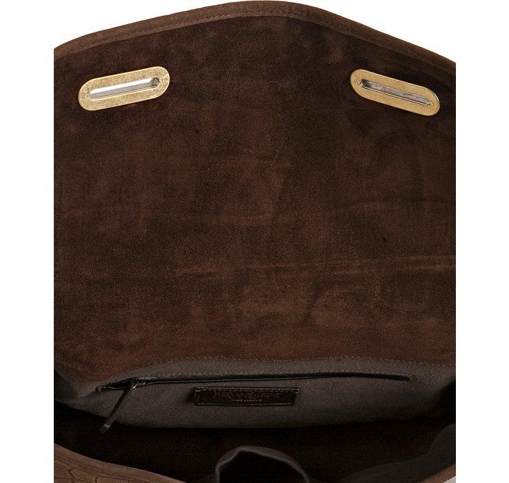 replica ysl handbag - Saint laurent Brown Croc Embossed Nubuck Besace Shoulder Bag in ...