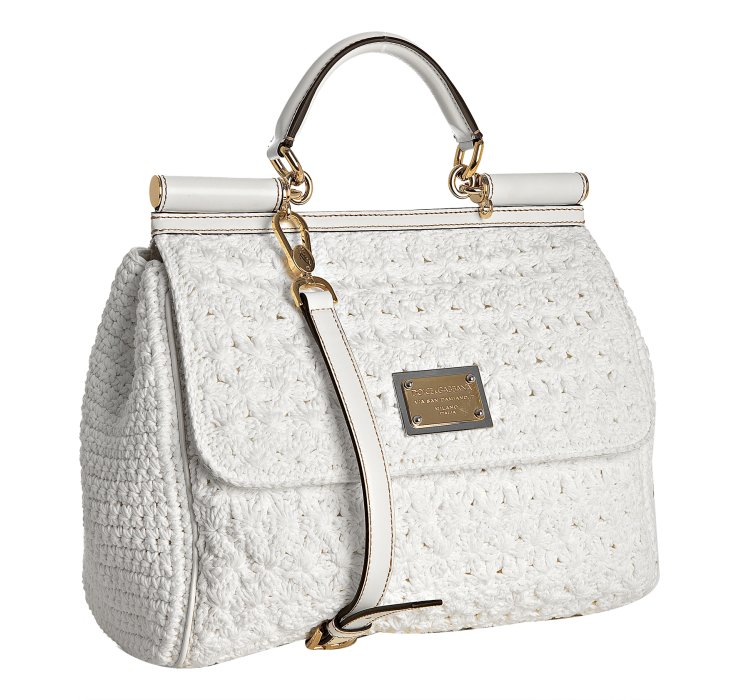 Crochet Handles For Handbags : ... & gabbana White Crochet Miss Sicily Top Handle Bag in White Lyst