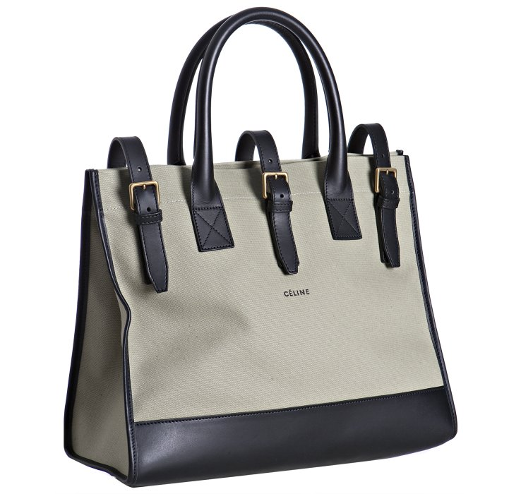Céline Light Green Canvas and Leather Buckle Top Handle Bag in Brown ... c3e78117d8
