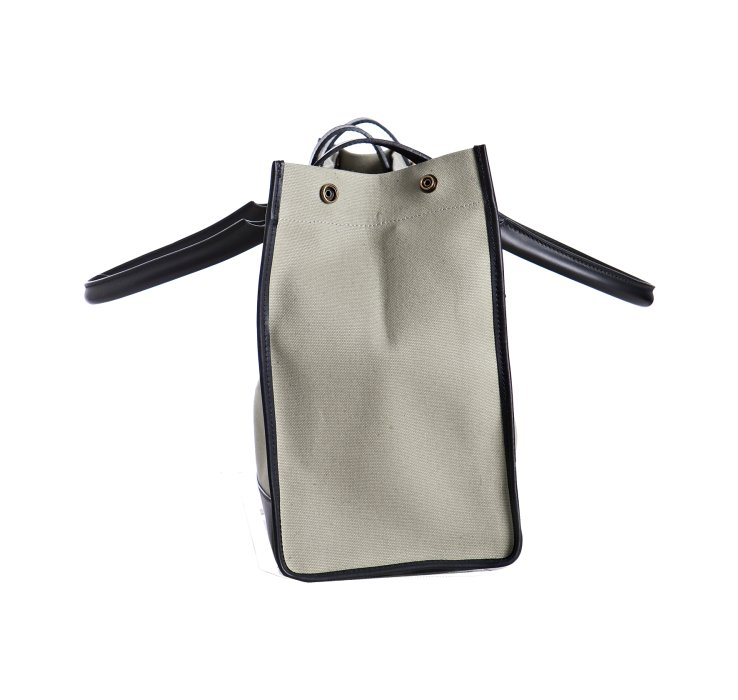 C��line Light Green Canvas and Leather Buckle Top Handle Bag in ...