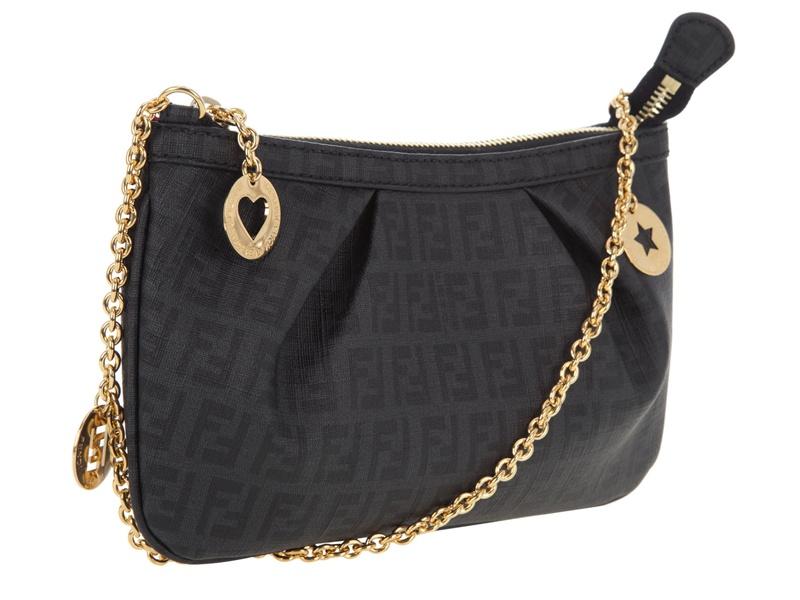 Fendi Gold Chain Shoulder Bag In Black Lyst