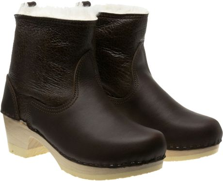 no 6 clog boot with shearling in brown lyst