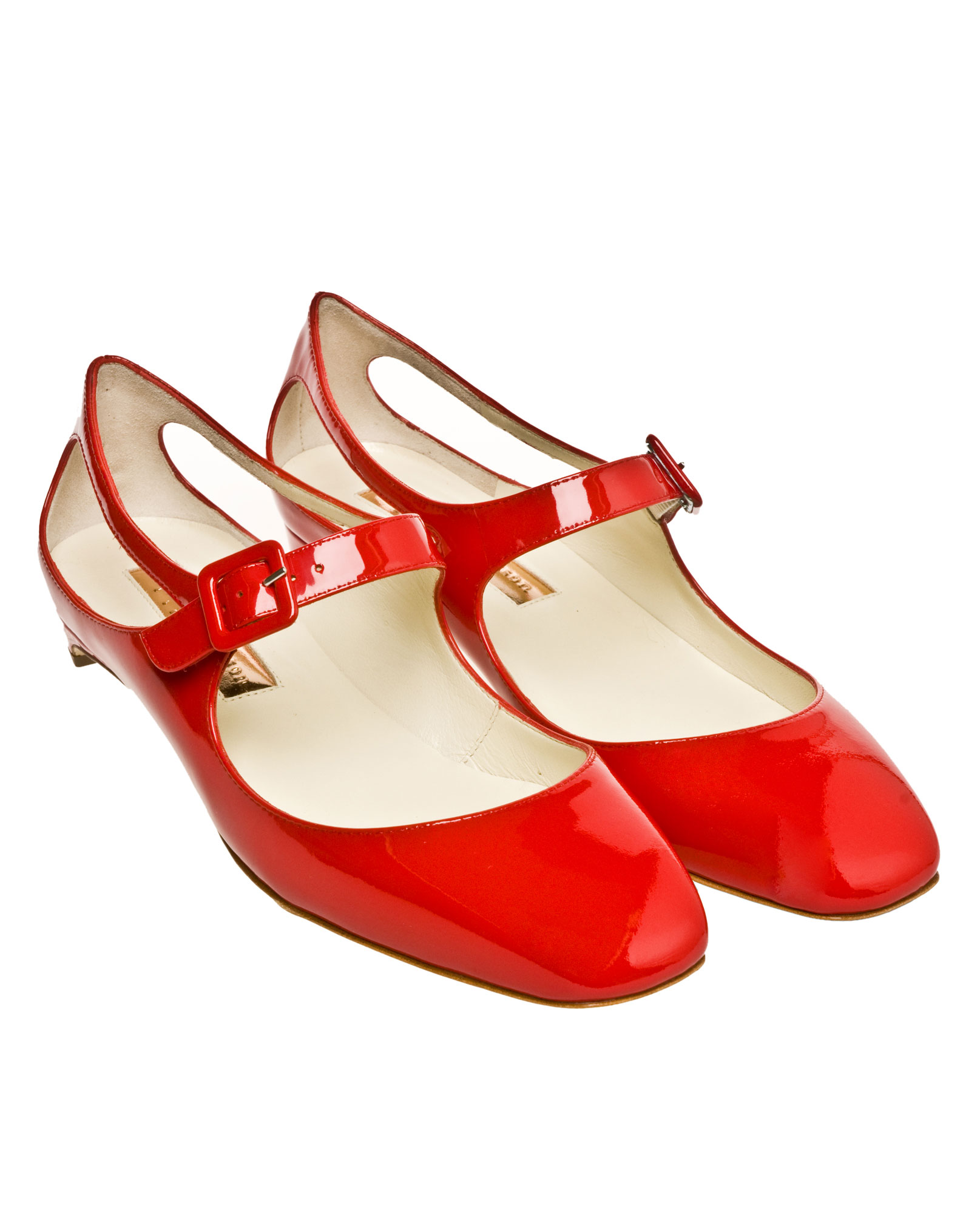 Rupert Sanderson Patent Mary Jane Flats in Red - Lyst