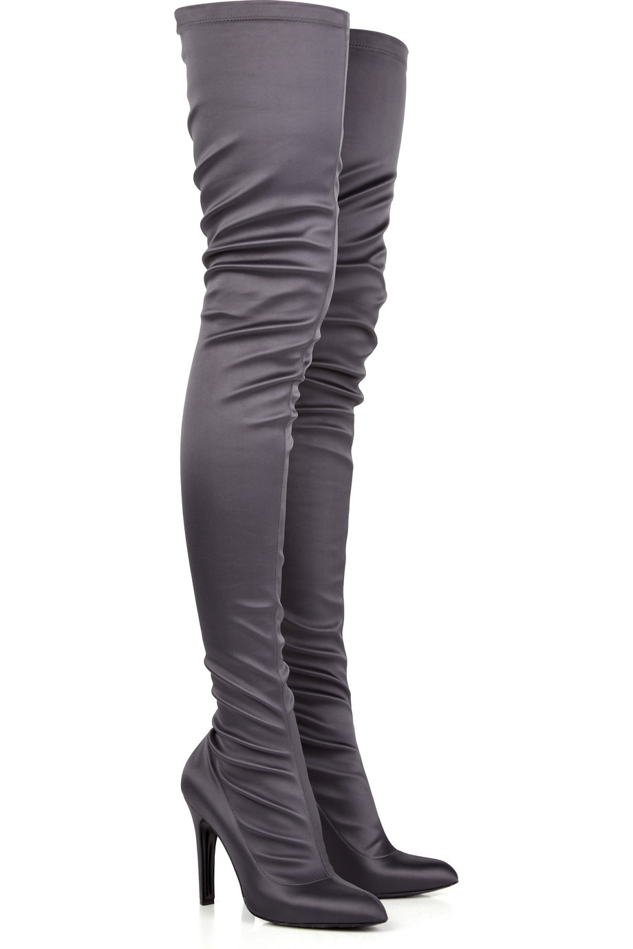 Lyst Stella Mccartney Thigh High Satin Boots In Gray