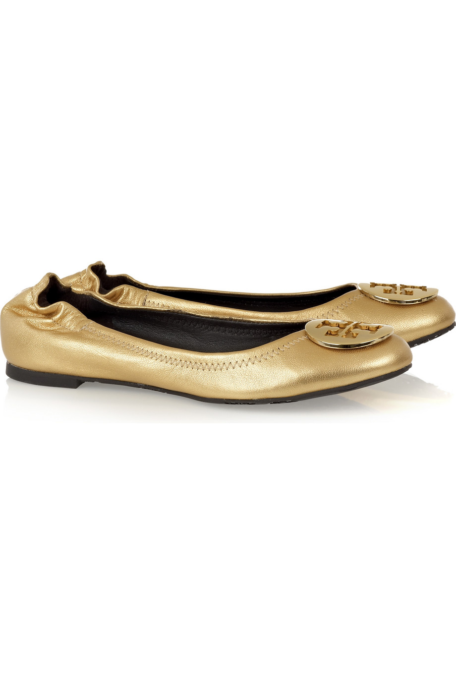 tory burch reva leather ballerina flats in gold lyst. Black Bedroom Furniture Sets. Home Design Ideas
