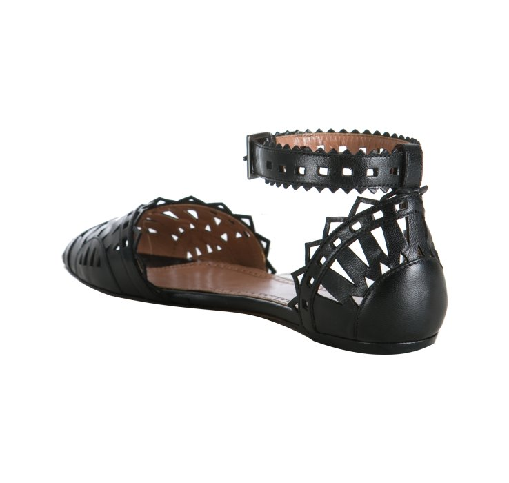 Ala 239 A Black Leather Cut Out Sandals In Black Lyst